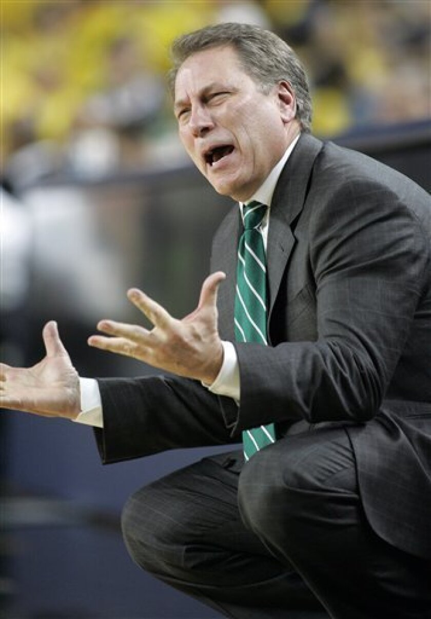 Michigan State head coach Tom Izzo reacts to a play during the first half of an NCAA college men's basketball game against Michigan, Tuesday, Feb. 10, 2009, in Ann Arbor, Mich. (AP Photo/Tony Ding)