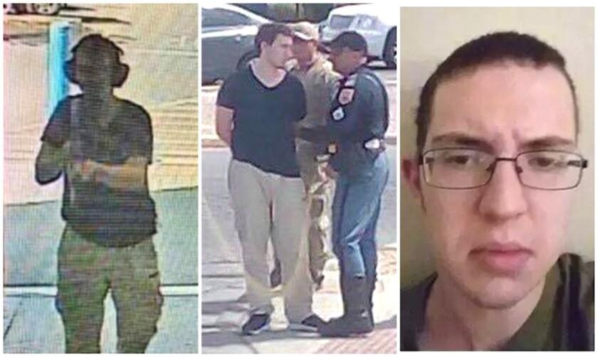 Patrick Crusius, de 21 años, presunto atacante, en imágenes que circulan en Internet: grabado por la cámaras de seguridad, al ser detenido y la foto de su perfil en una red social.