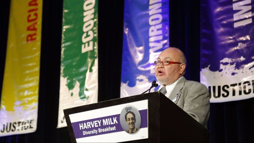 Nicole Murray-Ramirez is shown in this 2017 file photo addressing about 1,000 attendees of the annual Harvey Milk Diversity Breakfast in San Diego. He will be associate editor of the Gay San Diego biweekly publication under its new Sacramento-based owner Terry Sidie, who takes over Oct. 1.