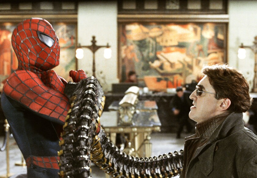 "Tobey Maguire and Alfred Molina in ""Spider-Man 2."""