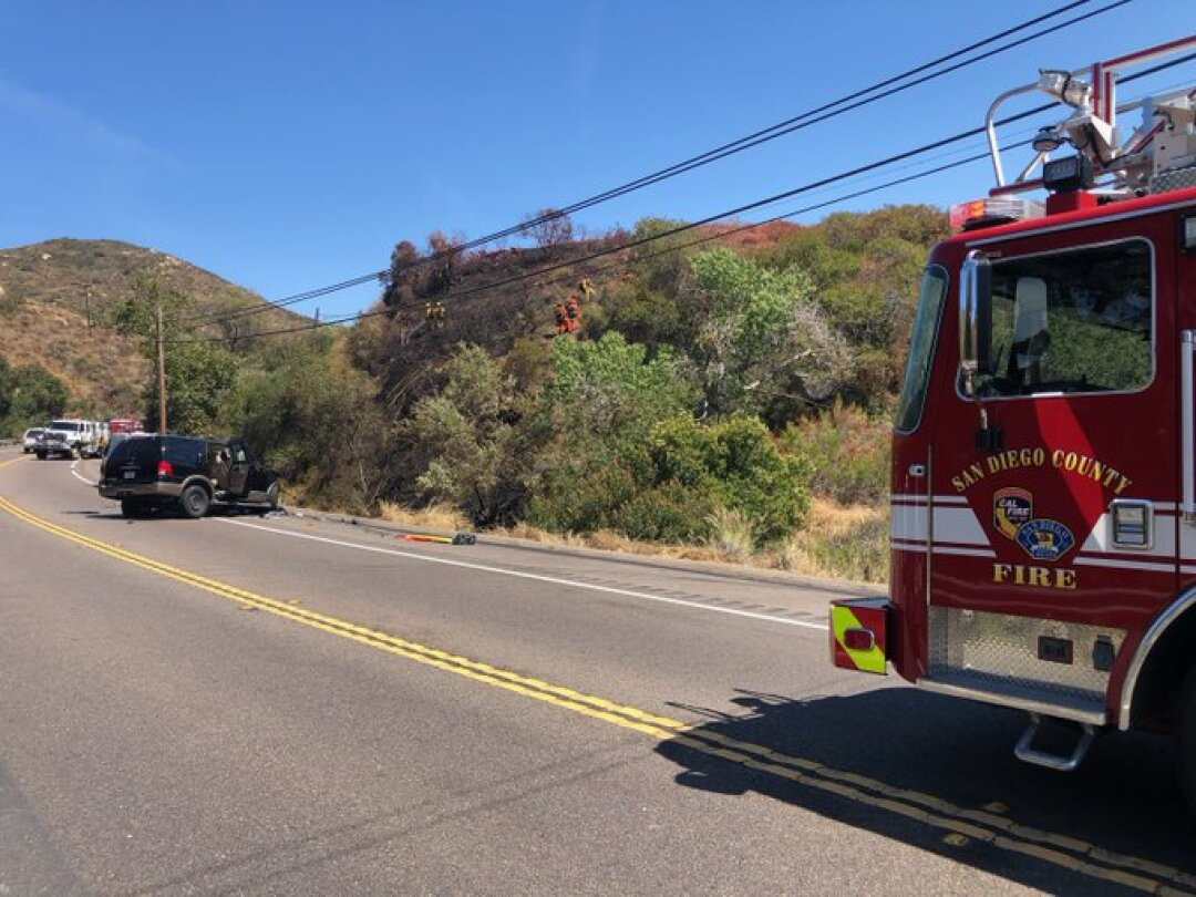 A Cal Fire crew at the scene of a crash.