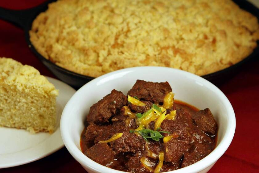 Smitty's Grill's steak chili and iron skillet corn bread