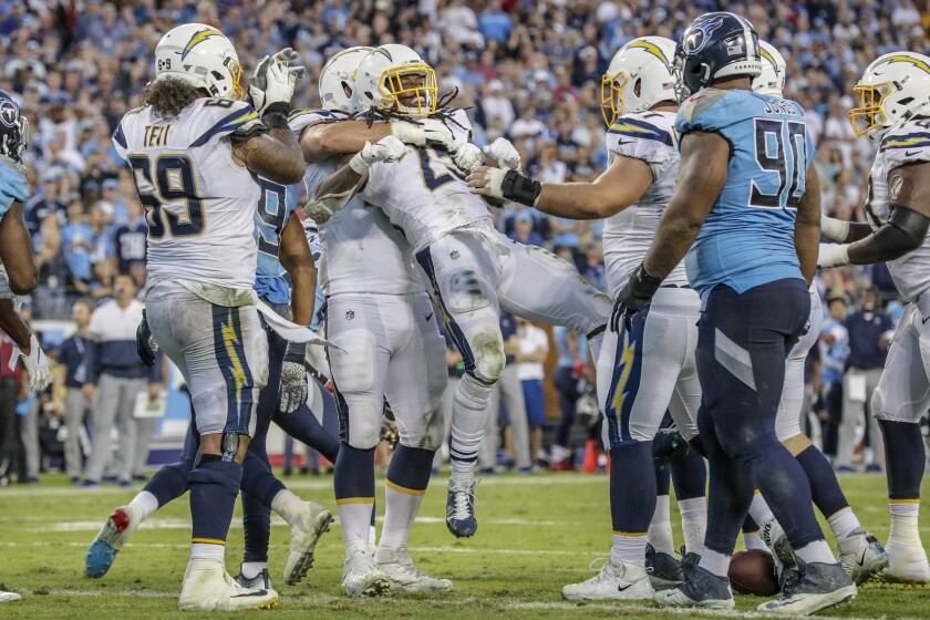 The Chargers prematurely celebrate what they thought was a rushing touchdown by Melvin Gordon, 25, but the play was reversed and ruled short of the goal line.