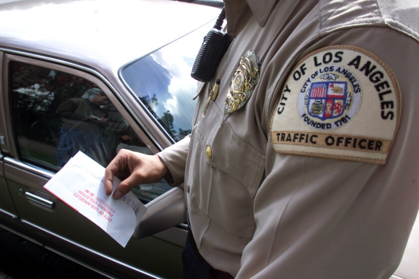 L.A. Traffic Officer Hands Out Parking Ticket