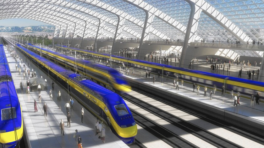 An artist's rendering shows a proposed train station of California's $68-billion high-speed-rail project.