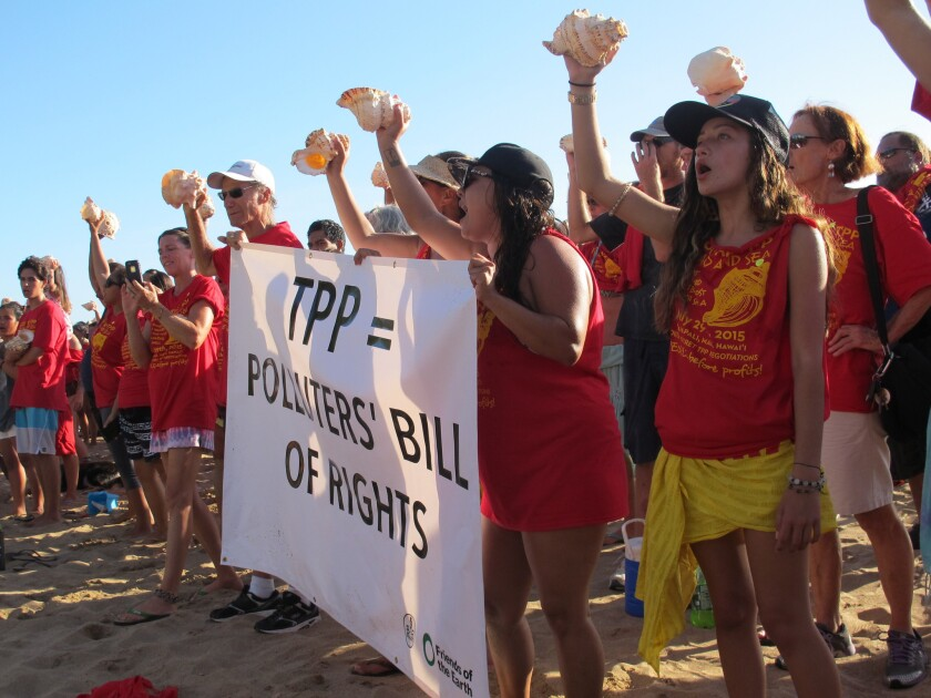 Protesters holding conch shells line Kaanapali Beach in Lahaina, Hawaii, at a rally against the Trans-Pacific Partnership.