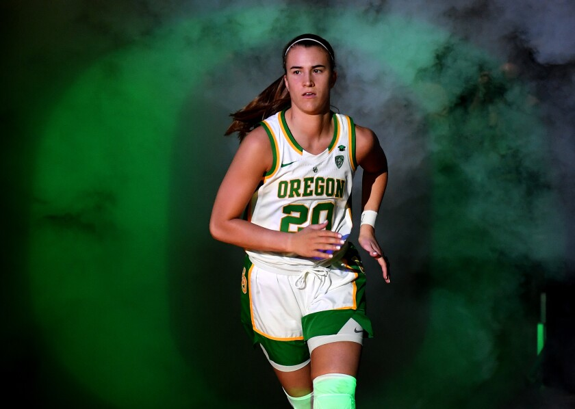 Oregon star Sabrina Ionescu is introduced before the championship game of the Pac-12 Conference tournament on March 8, 2020, in Las Vegas.