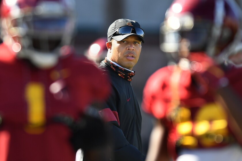 USC interim head coach Donte Williams conducts practice Wednesday afternoon.