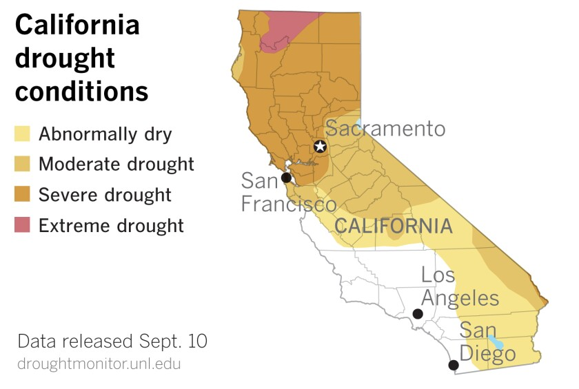 Drought conditions continue to expand in California.