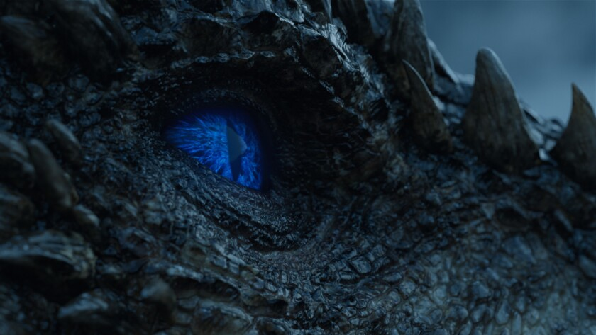 "Viserion is transformed in death to a wight dragon in the ""Game of Thrones'"" episode ""Beyond the Wal"