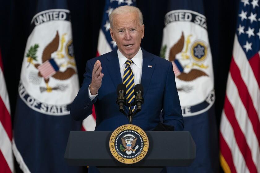 President Joe Biden delivers remarks to State Department staff, Thursday, Feb. 4, 2021, in Washington. (AP Photo/Evan Vucci)