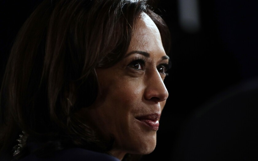 FILE - In this Sept. 12, 2019, file photo Sen. Kamala Harris, D-Calif., talks to the media in the spin room following the Democratic presidential primary debate hosted by ABC on the campus of Texas Southern University in Houston. (AP Photo/Eric Gay, File)