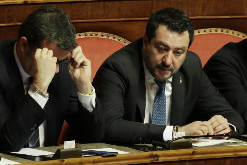 The League leader Matteo Salvini attends a debate at Senate, prior to a vote on lifting his parliamentary immunity, on the case of an Italian coast guard ship Gregoretti, which was blocked for days when he was Minister of Interior before letting migrants disembark. (AP Photo/Andrew Medichini)