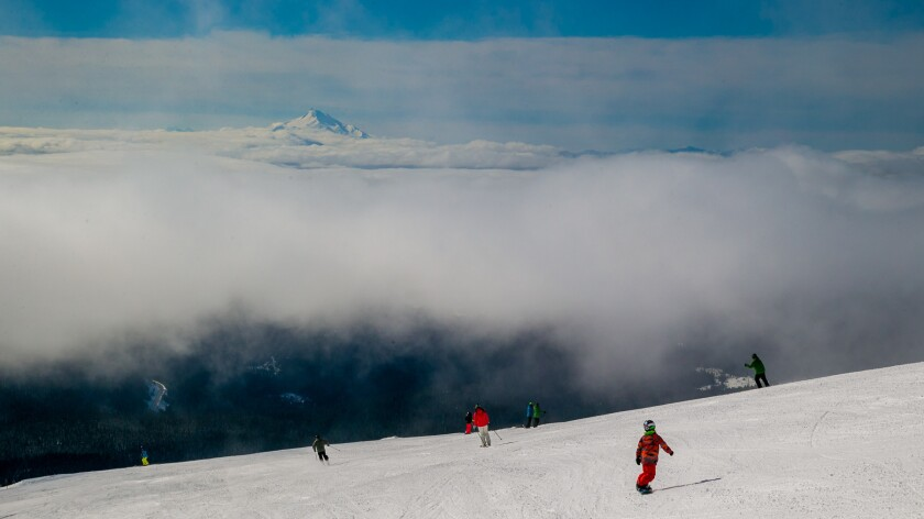 Views draw skiers and snowboarders to Mt. Hood Meadows every season.