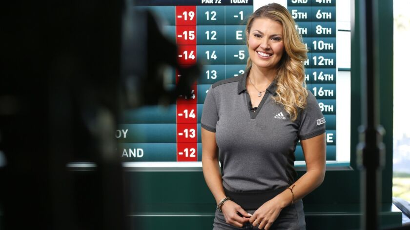 CBS golf announcer Amanda Balionis works Sunday during the Farmers Insurance Open at Torrey Pines.