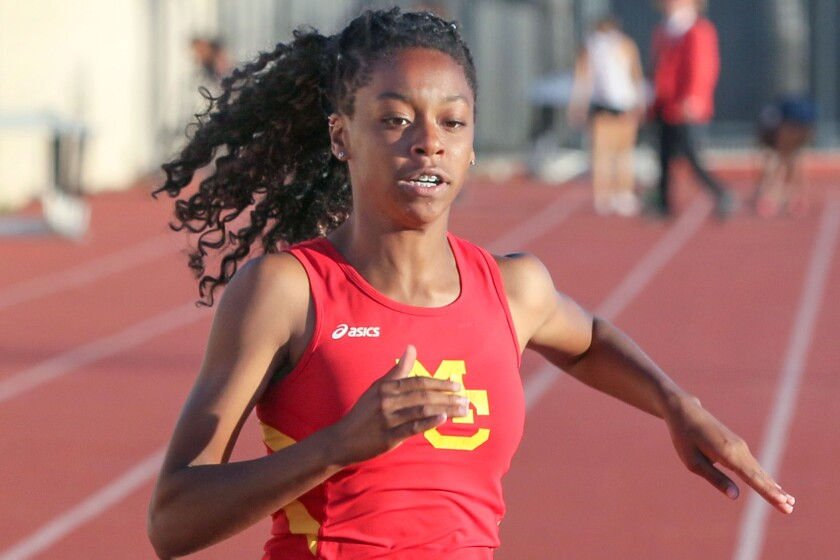 Mt. Carmel's Natalia Dougan is among the San Diego Section leaders in the 100 and 200 meters.