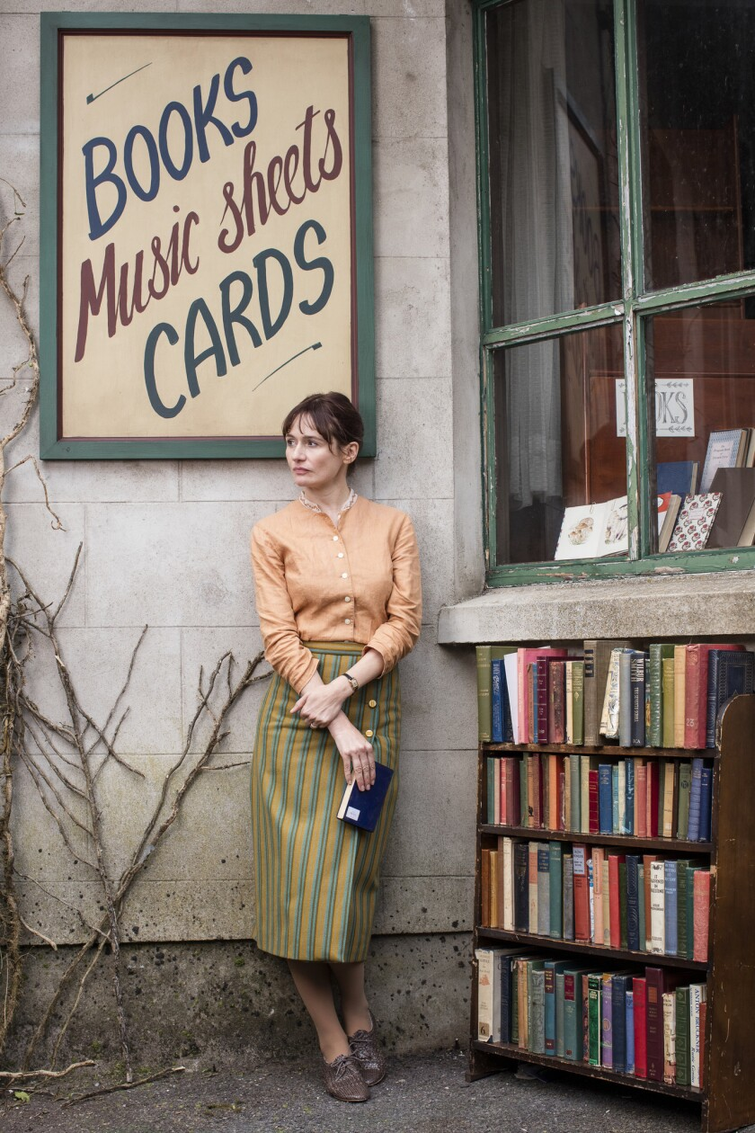 """Emily Mortimer in the new """"The Bopokstore,"""" about a woman who encounters resistance to opening a shop in an English village in 1959 — a rejuvenating tale, she says, about """"not succeeding."""""""