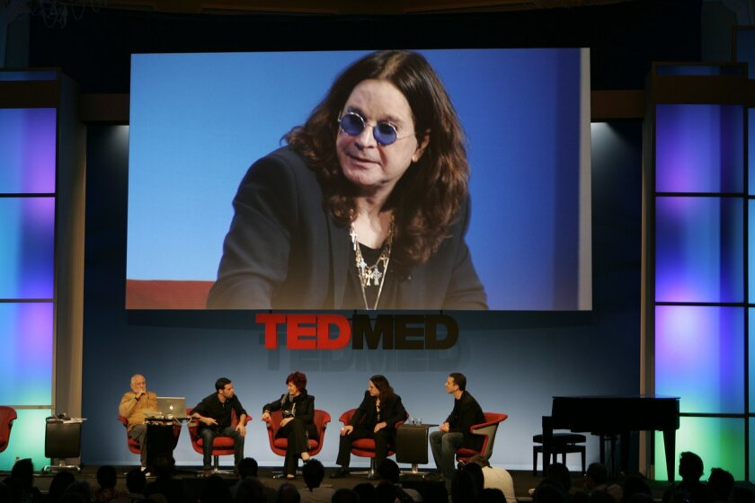 Ozzy Osbourne appeared bigger than life at moments during the TEDMED conference in Coronado. He was joined on stage at the Hotel del Coronado by (from left) TEDMED creator Richard Saul Wurman, Knome geneticist Nathaniel Pearson, his wife Sharon Osbourne and TEDMED president and co-owner Marc Hodosh
