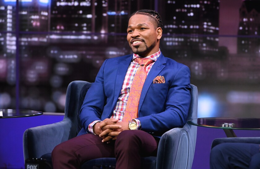 """Shawn Porter sits on set Aug. 9 for a taping of """"Inside PBC Boxing"""" at Fox Sports Studio."""