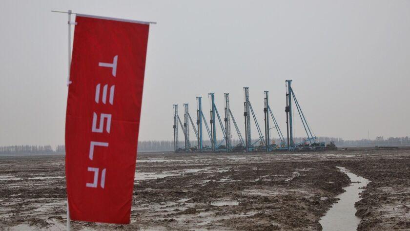 Tesla factory site in Shanghai. Funding is not yet secured.