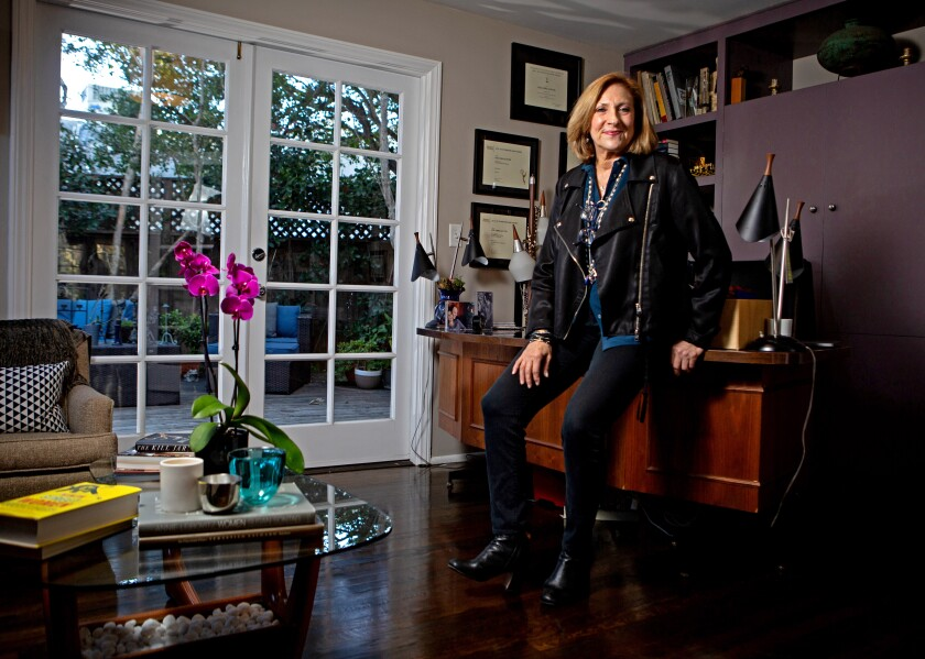 "Pacific Palisades, CA., February 10, 2020 — Leslie Linka Glatter, executive producer and director of ""Homeland"", poses for a portrait in her home office on Monday, February 10, 2020 in Pacific Palisades, California. (Jason Armond / Los Angeles Times)"