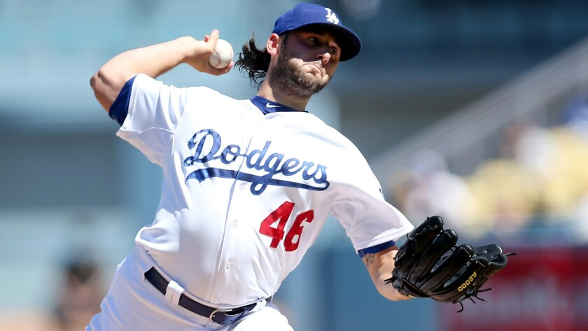 Starter Mike Bolsinger, who is vying for a spot on the Dodgers' postseason roster, lasted 4 1/3 innings and gave up all four runs in a loss to the Pirates on Sunday.