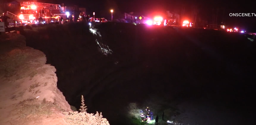 Firefighters used a helicopter to rescue a man in his 30s who fell about 50 feet down a cliff at Sunset Cliffs early Sunday.