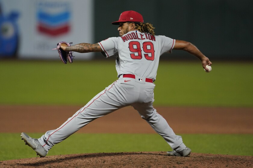 Angels reliever Keynan Middleton pitches against the San Francisco Giants on Aug. 19. (AP Photo/Jeff Chiu)