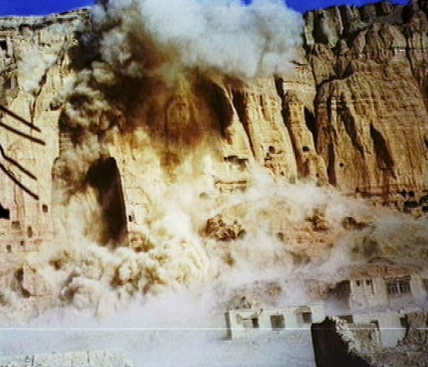 he giant Buddhas of Bamiyan are destroyed by the Taliban government on March 12, 2001 in Bamiyan, Afghanistan.