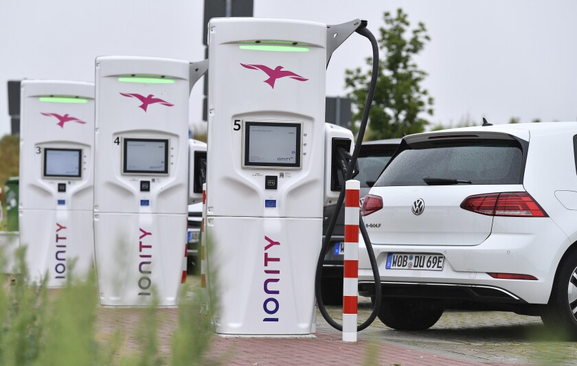A picture taken July 19, 2019 shows the commissioning of an Ionity E super fast charging park
