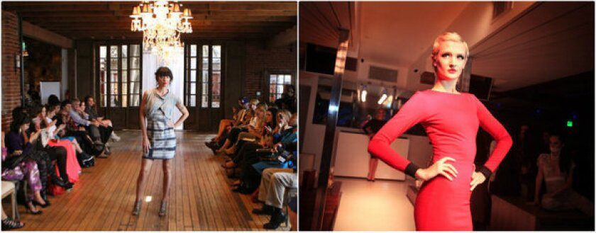 At left, a look from ISM Mode at the inaugural run of shows organized by the Los Angeles Fashion Council in October 2012. At right, a model hits the runway at Couture Los Angeles, a fashion-themed Hollywood nightclub, in a November 2012 file photo. The Los Angeles Fashion Council and Couture Los Angeles are partnering for a fashion designer version of an open mic night.