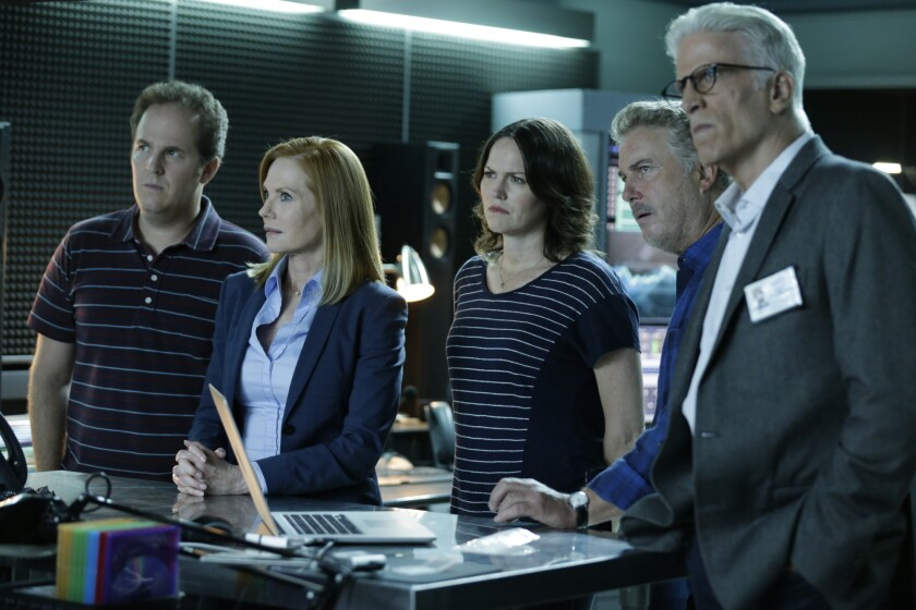 "Sunday's ""CSI: Crime Scene Investigation"" finale reunited the team (David Berman, left, Marg Helgenberger, Jorja Fox, William Petersen and Ted Danson) to work one final case."