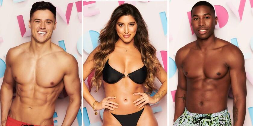 """Love Island"" contestants Brad McClelland, left, Shannon Singh and Aaron Francis."