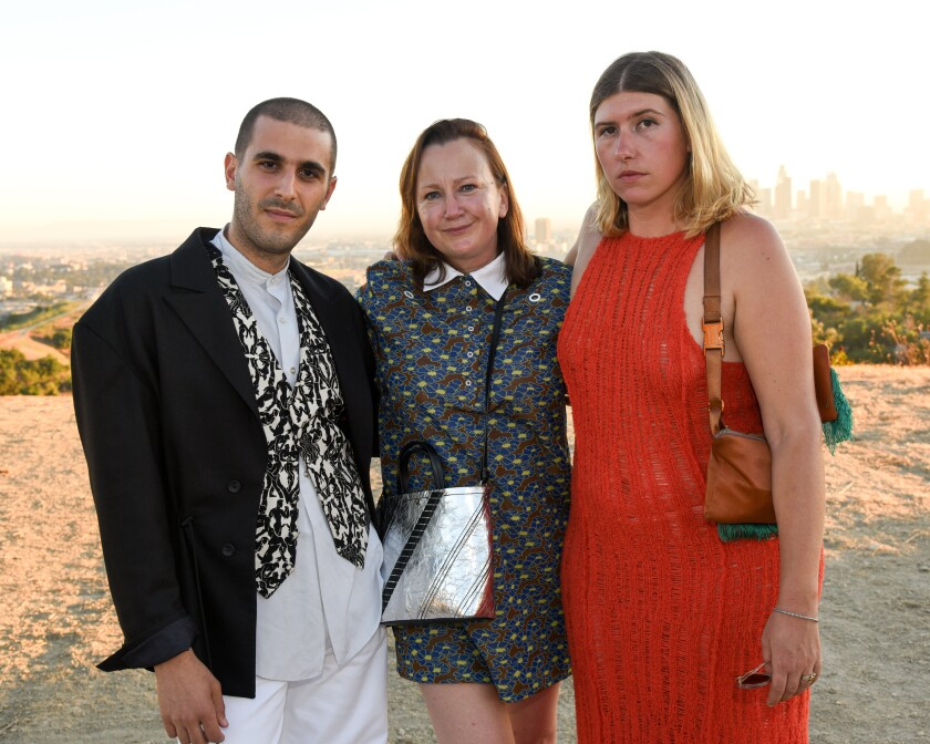 Mike Eckhaus, from left, Andrea O'Donnell and Zoe Latta at the Ugg and Eckhaus Latta collaboration dinner in Los Angeles on Wednesday.
