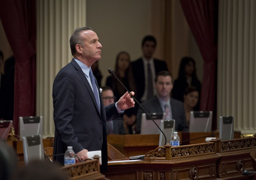 Senate President Pro Tem Darrell Steinberg (D-Sacramento) during a recent floor session.