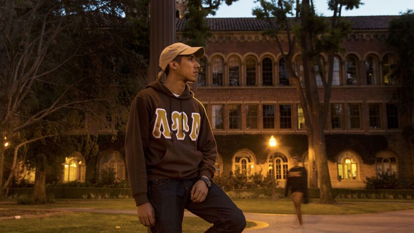 LOS ANGELES, CA - APRIL 26, 2017: USC student Xavier Garcia transferred from Sacramento City Colleg