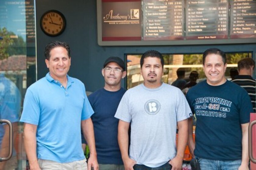 From left: Anthony Khattar, Raul Parra, Guillermo Amador and Oscar Gutierrez make up the Anthony's Shoe Repair team at the Del Mar Highlands.
