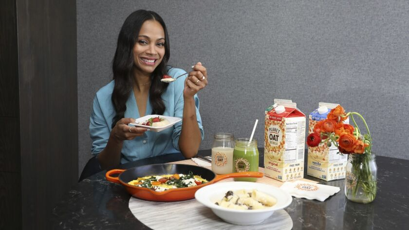 Actress Zoe Saldana promotes Planet Oat Oatmilk during the product's national launch in April.