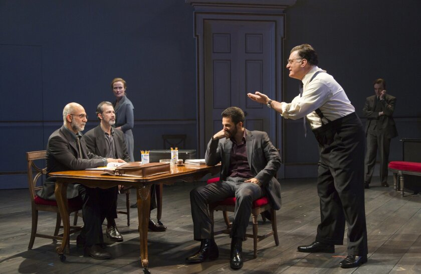 """In this image released by Philip Rinaldi Publicity, from left, Anthony Azizi, Dariush Kashani, Jennifer Ehle, Michael Aronov, Joseph Siravo and Jefferson Mays appear during a performance of """"Oslo,"""" performing off-Broadway at The Mitzi Newhouse Theater in New York. (T. Charles Erickson/Philip Rinald"""