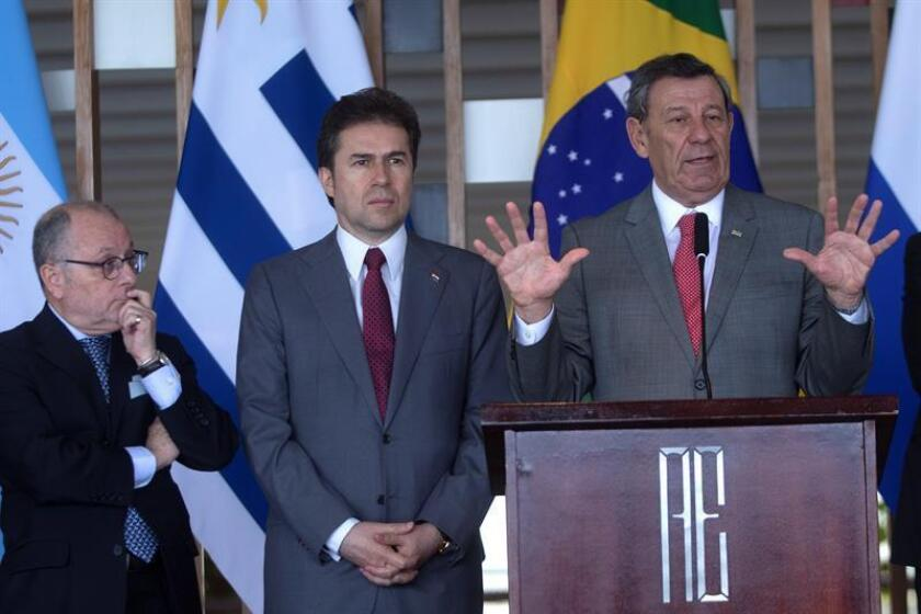 (L-R) The foreign ministers from Argentina, Jorge Faurie; Paraguay, Luis Castigloni; and Uruguay, Rodolfo Nin Novoa participate in a press conference after meeting in Brasilia on Dec. 6, 2018. EFE-EPA/Joedson Alves