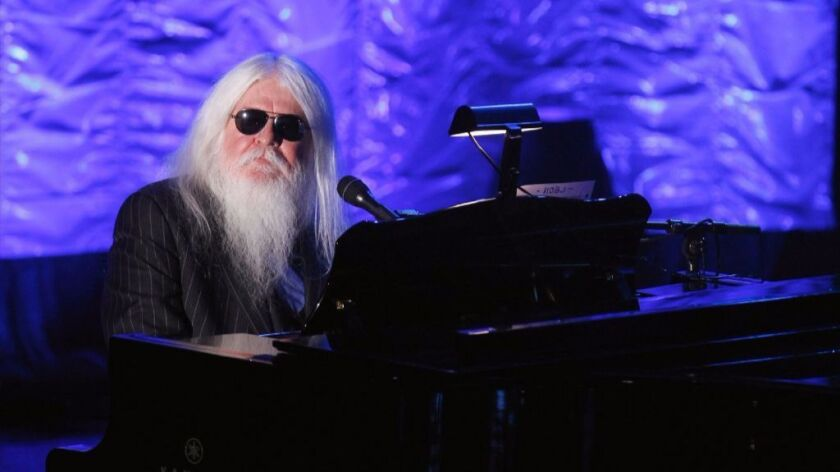 Leon Russell performs during the Songwriters Hall of Fame awards in New York on June 16, 2011. Russell died Sunday at the age of 74.