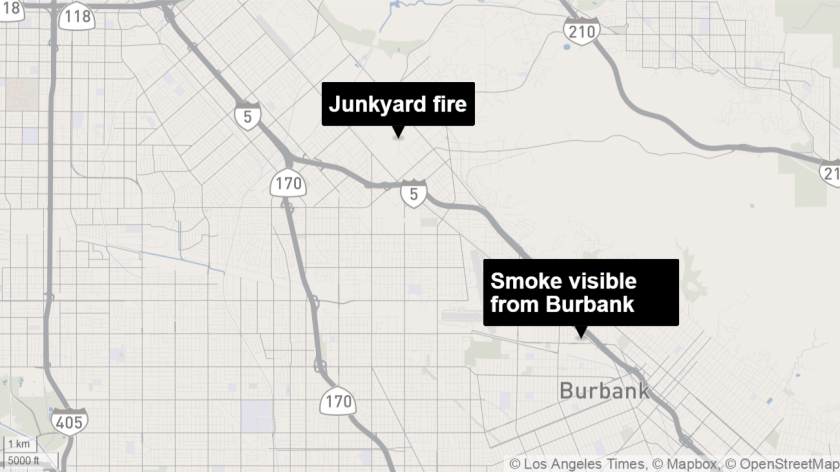 Smoke from a junkyard fire in Sunland was visible from a shopping center in Burbank about 5 miles away.