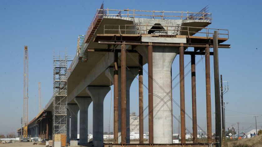 One of the elevated sections of the high-speed rail line under construction in Fresno.