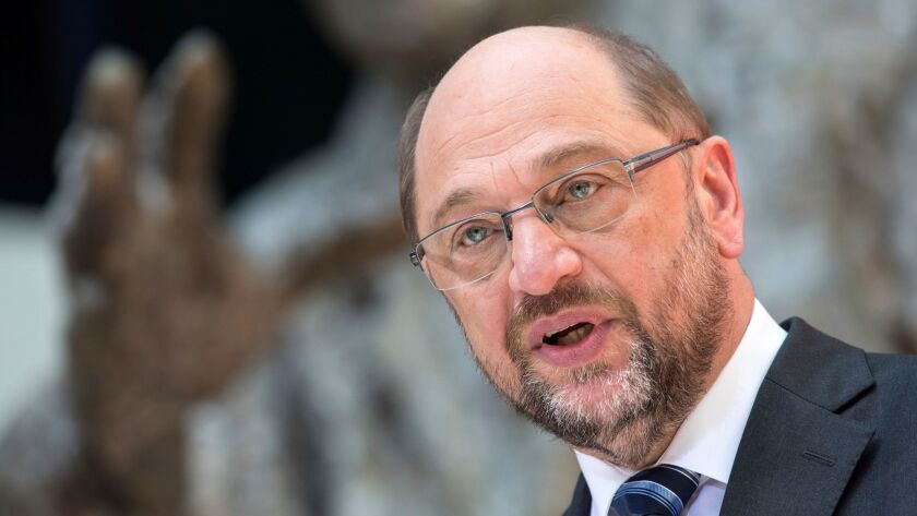 Social Democratic Party Chairman Martin Schulz speaks at a news conference in Berlin on June 1, 2017