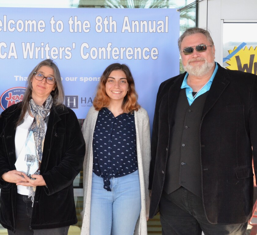 Sophie Camilleri (center) with writers Aleta Barthell and Jonathan Maberry.