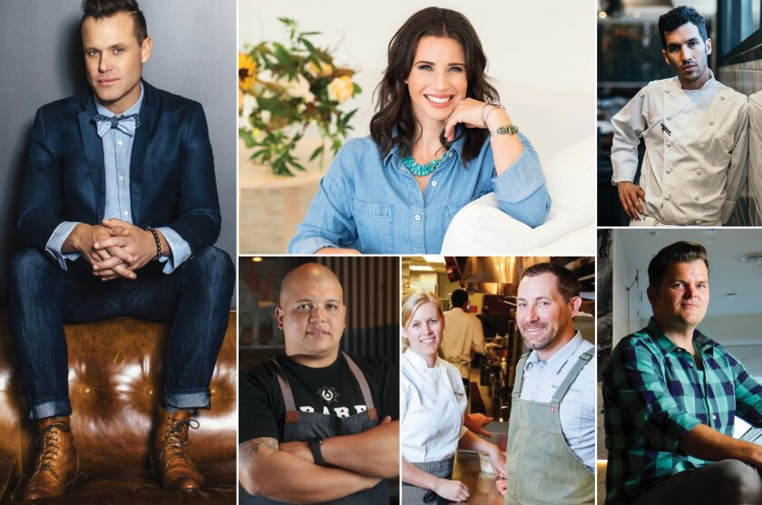 Among the A-list chefs participating in Fête & Feast are (clockwise, from left): Brian Malarkey, Rachel King, Brian Redzikowski, Travis Swikard, Tim Kolanko, Kelli Crosson and Brad Wise.