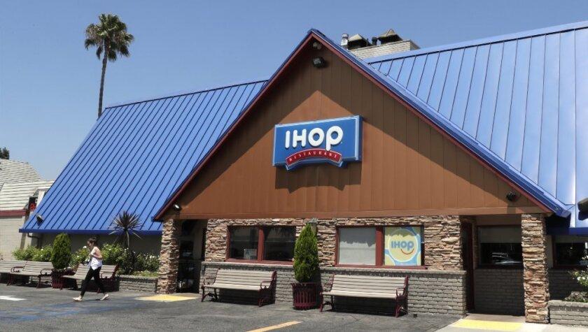 A diner leaves the IHOP restaurant in Glendale.