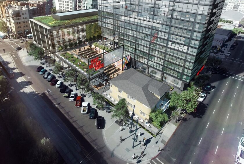Holland Partner Group is proposing a roughly $200 million highrise downtown that calls for a mix of offices, more than 400 apartments, a public plaza and outdoor amphitheater.