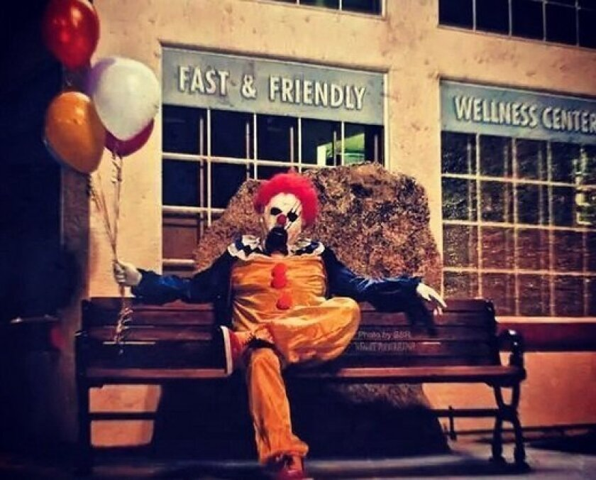 This creepy clown has been seen on streets and park benches in the small Kern County town of Wasco since last week.