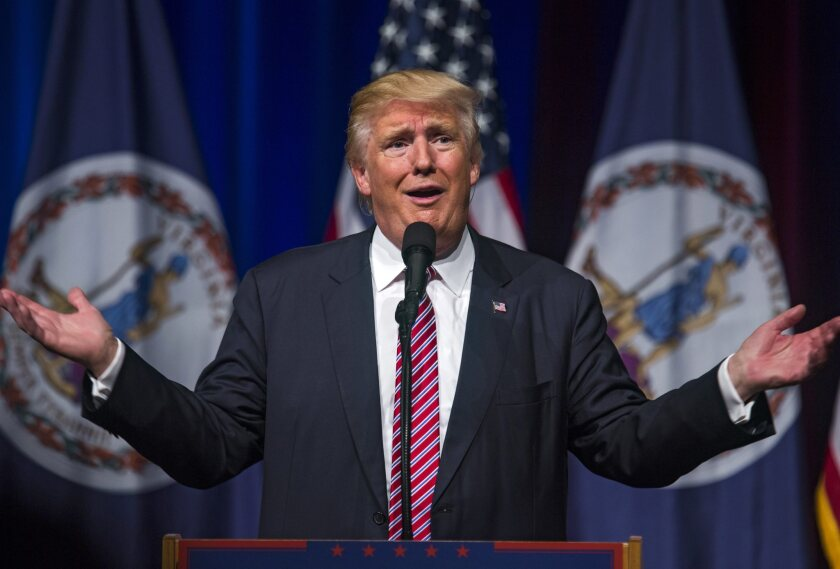 US Republican presidential nominee Donald Trump speaks at a rally at Briar Woods High School in Ashburn, Virginia, USA.